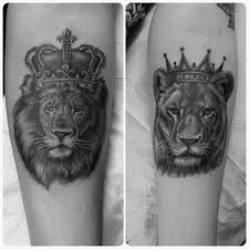 lioness with crown tattoo. Brilliant With Fun His And Hers Tattoos From Today Blackandgreytattoos Lion Liontattoo  Crown Crowntattoo King Queen Couplestattoo Hisandhers Torontotattoo   In Lioness With Crown Tattoo