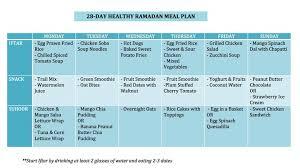 28 Day Ramadan Meal Plan