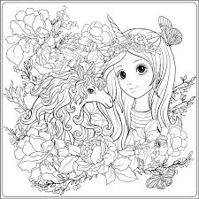 cute unicorn coloring pages and in roses garden outline drawing page book for stock vector