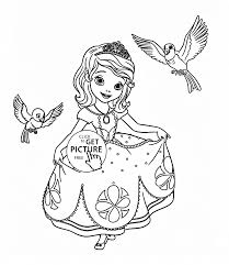 Small Picture Sofia the First with birds coloring page for girls disney for