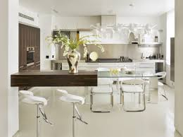 tremendous modern white kitchen design with white cabinet and eat in kitchen glass table plus