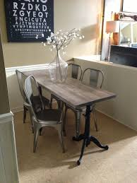 narrow dining table for narrow e industrial chic drafting table base made by jen widner diy restoration hardware metal chairs faux weathered wood