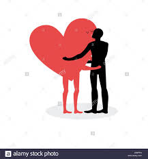 man hugs heart hot kiss on a date in love with love romantic ilration for valentines day