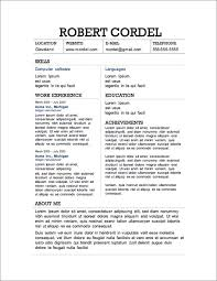 Microsoft Word Job Resume Template Resume Templates Free Download For Microsoft Word Template