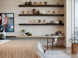 agreeable space saving bedroom furniture simple design with single bed beige bed linen along dark brown alluring murphy bed desk