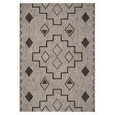 safavieh grey and black courtyard southwest indoor outdoor rug lowe s canada