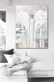 giclee print abstract angel painting modern angel art cream light blue grey pink white home wall  on black white blue wall art with canvas print abstract angel painting angel cream white wall art