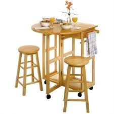 mobile breakfast bar table set with 2 stools in natural