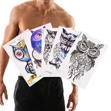 большая татуировка в виде совы рукава вспышка временная татуировка