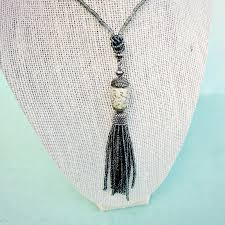 necklace beaded glass with paper bead and tassel pendant phoebe product images of