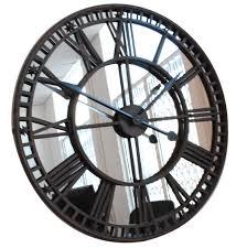antique mirror iron roman skeleton wall clock 82cm dia x 5 cm thick