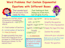word problems that contain exponential equations with diffe bases
