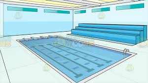 Indoor Olympic Size Swimming Pool Background Cartoon Clipart