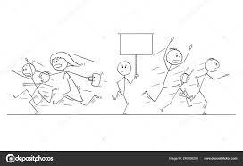 Comic Zeichnung Der Masse Der Menschen Laufen In Panik Vom Mann Mit