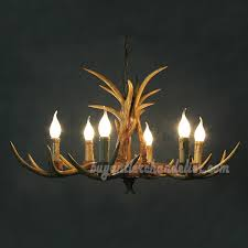 6 cast deer chandelier six ceiling lights candelabra rustic style pendant lighting 30 inches
