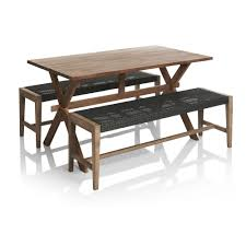 wilko fsc rustic garden wooden table and bench set image 1