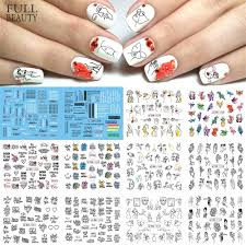 12pcs design foil on nails water stickers hollow slider line drawing transfer sticker nail art