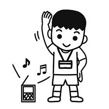 夏休みラジオ体操をしている児童イラスト 無料イラスト素材素材ラボ