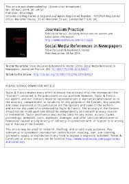 Pdf Social Media References In Newspapers Facebook Twitter And