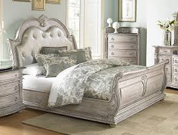palace ii white wash king bonded leather sleigh bed from