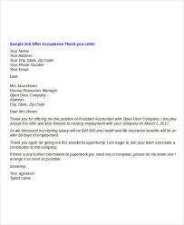Acceptance of Job fer Thank You Letter Template
