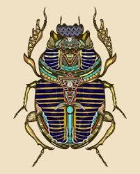 Vektorová Grafika Zlaté Scarab Barevné Tetování Umění Starověkého