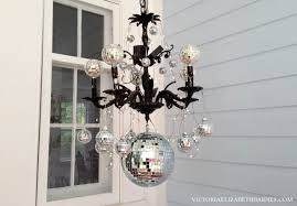 Mini Disco Ball Decorations Our Victorian front porch decorated for Halloween DIY chandelier 48