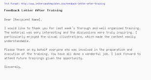 Feedback Letter After Training