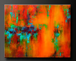 abstract acrylic painting on canvas and festive shades of