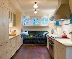 Comfortable Galley Kitchen Remodel With Gray Sofa Matches The Ceiling Mount  Lighting And Trees Scenery Behind