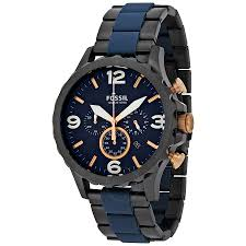 fossil nate chronograph blue dial men s watch jr1494 nate fossil nate chronograph blue dial men s watch jr1494
