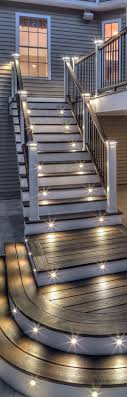 deck stair lighting ideas. Create A Little Drama On Your Deck With Lighting Installed Stair Risers And Railing In The Post Caps. Learn How At Trex. Ideas