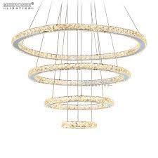 meerosee crystal chandeliers modern led 4 rings d31 5 23 6 15 7 7 8 md8825 8642 warm white