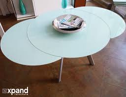 erfly round glass expanded table in white glass