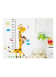 Cartoon Giraffe Kids Growth Chart Wall Sticker Multicolour