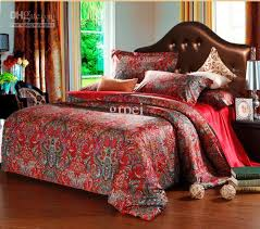 design style with egyptian bedding set red bedsheet bedclothes linen satin bedsheet bedclothes linen satin and woven technics printed pattern duvet