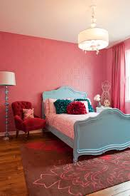 ... A dash of red in girls' bedroom draped in pink! [Design: Megan
