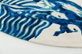 blue china rug white