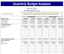 budget vs actual ysis template variance quarterly