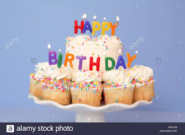 Cake And Cupcakes With Happy Birthday Candles Stock Photo 8195173