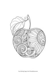 Zentangle Apple Coloring Page Printable Fall Coloring Ebook