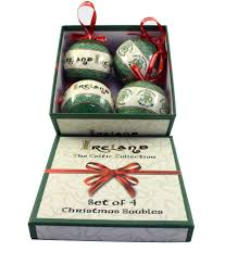 the celtic collection of 4 baubles ireland