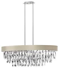 8 light oval chandelier with peable shade