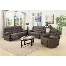 Microfiber Living Room Set Ellis Contemporary Microfiber 3 Piece Living Room Set Brown S6021