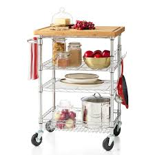 4 tier rolling cart with bamboo cutting board chrome finish wire shelf additions