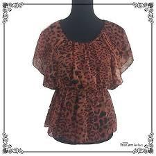Rue 21 Leopard Animal Print Shirt Sheer Polyester Flowy