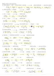 balancing equations worksheet 1 answers
