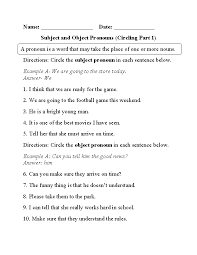 Circling Subject and Object Pronouns Worksheet Part 1 ...