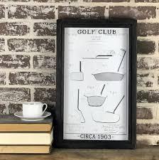 vintage golf club patent drawing framed