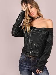 shein black faux leather off the shoulder belted hem biker jacket